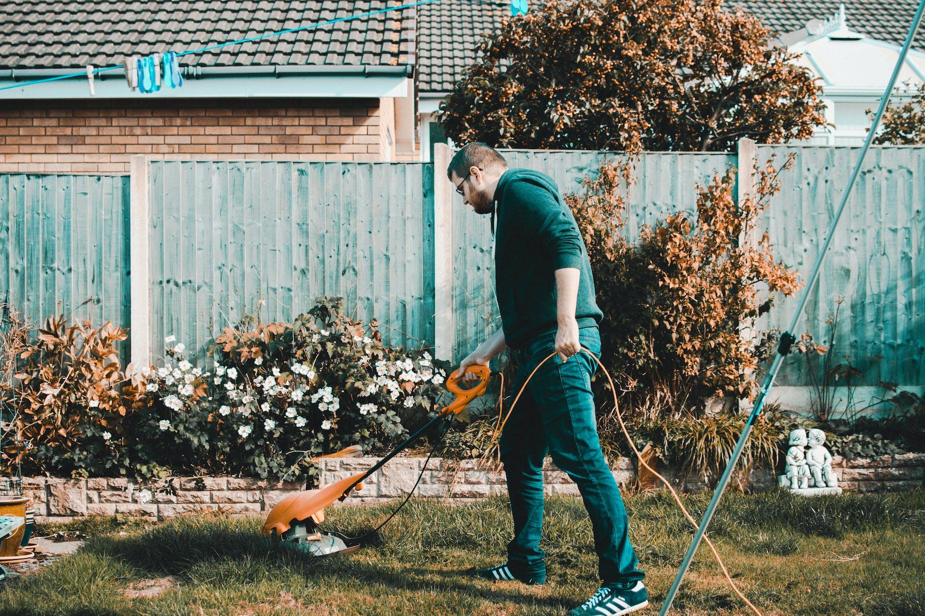 Man Using His Lawn Mower