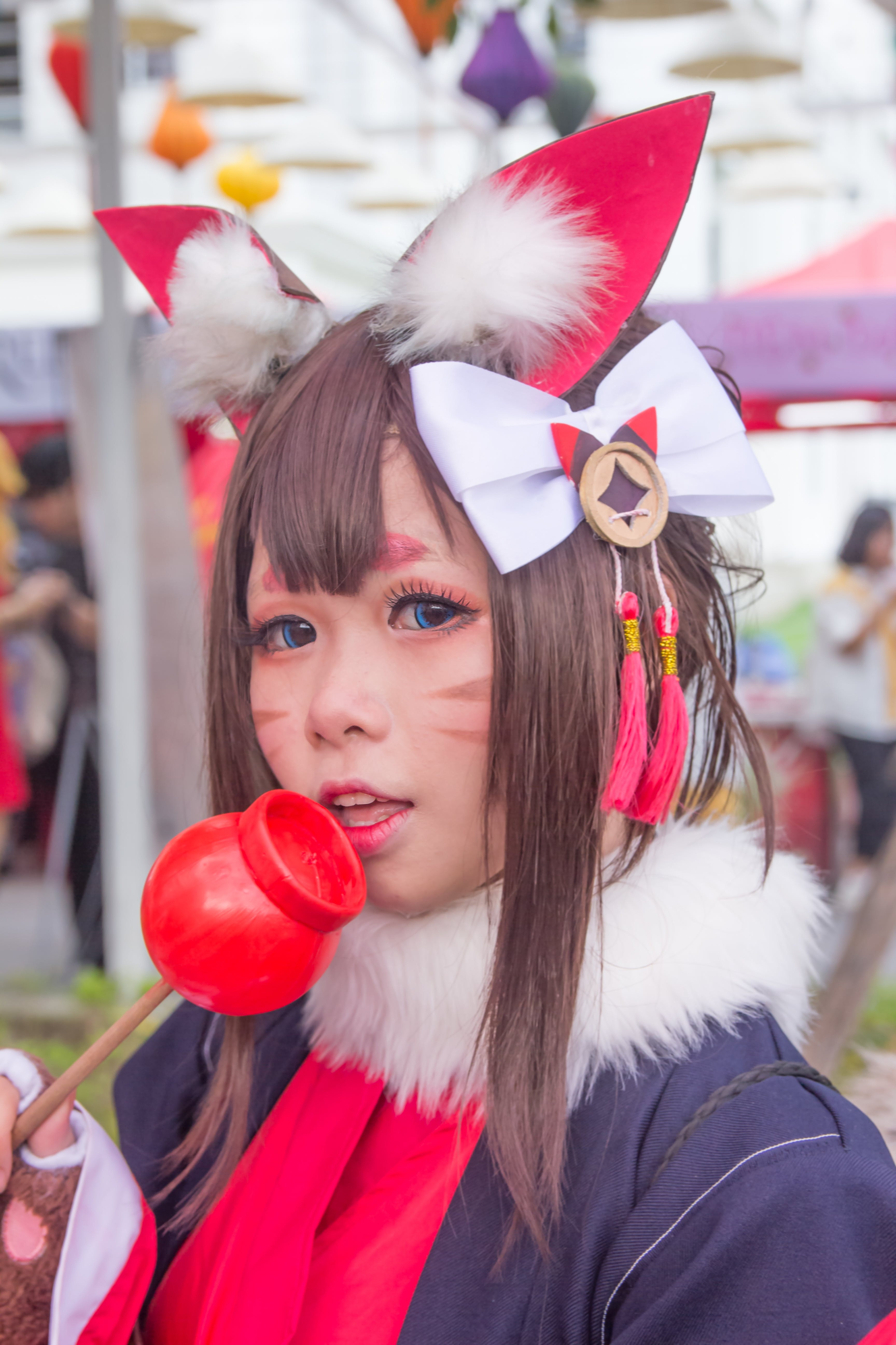 Woman Cosplaying Cat Anime