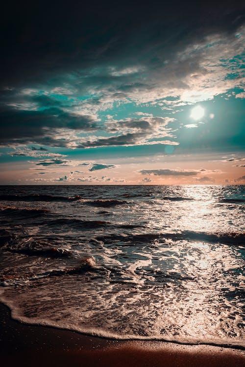 aften, bølger, hav