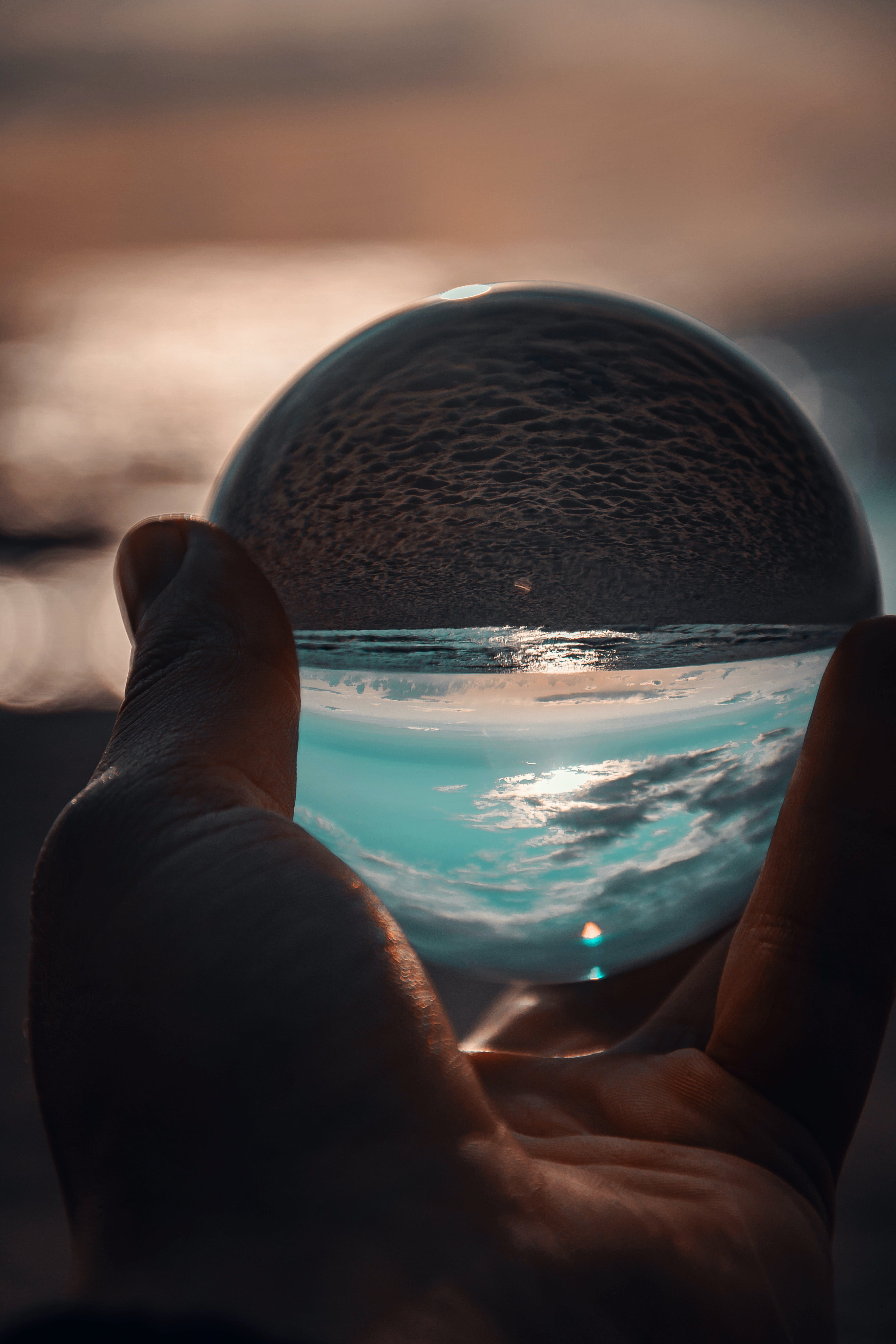 Person Holding Ball Showing Seashore