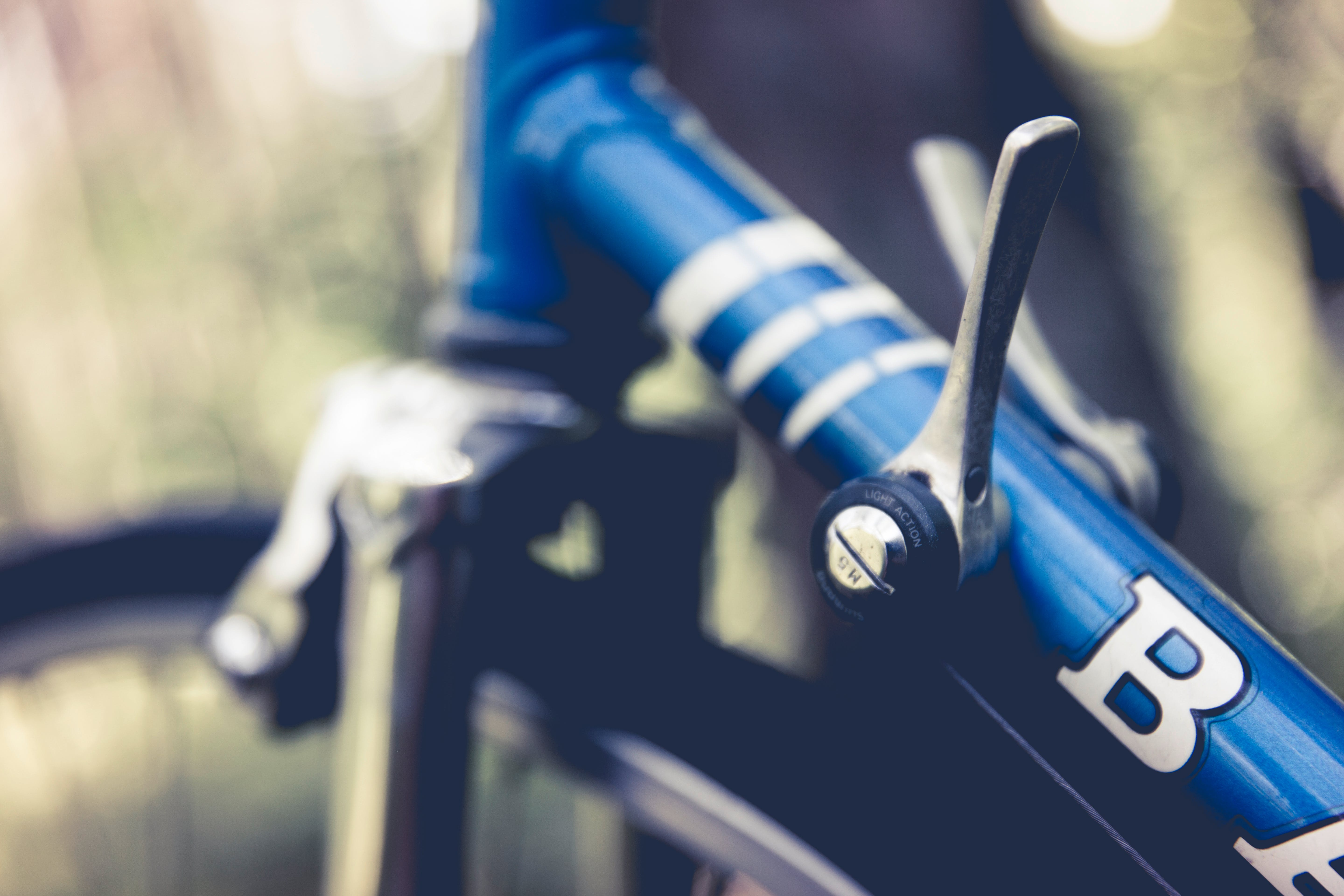 Blue Bicycle in Close Up Photography