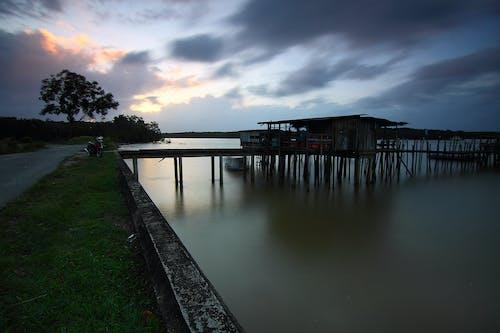 Photos gratuites de arbres, aube, bateau, coucher de soleil