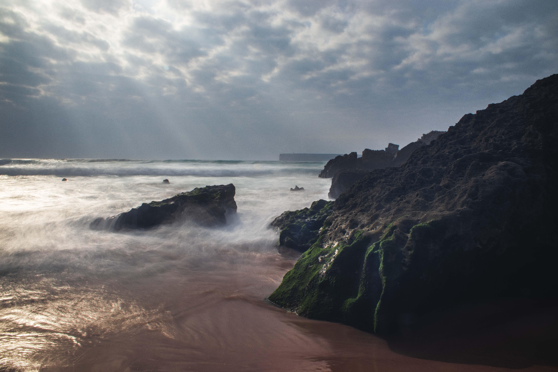 Free stock photo of clouds, ocean, rocks, long time exposure