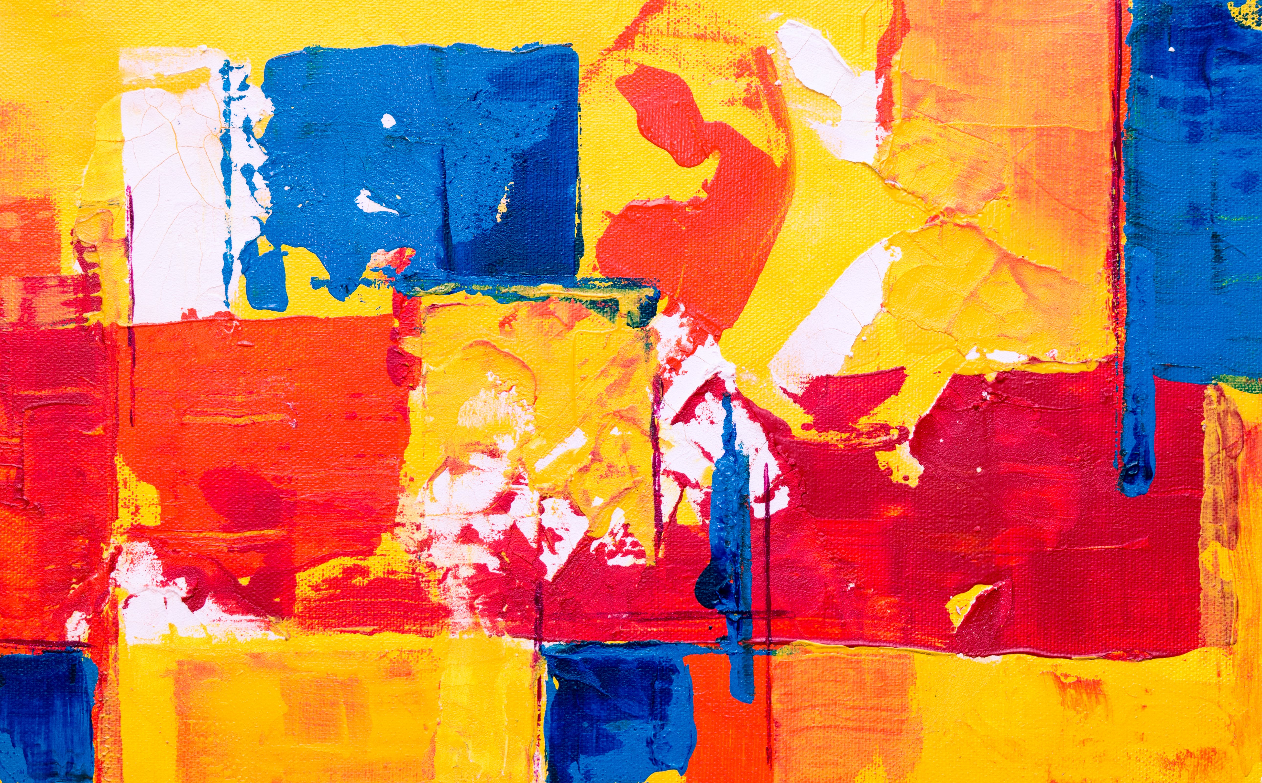 Orange, Red, and Blue Abstract Painting