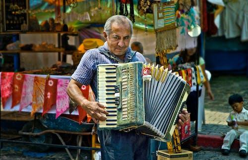 Бесплатное стоковое фото с аккордеон, музыкант, уличный артист