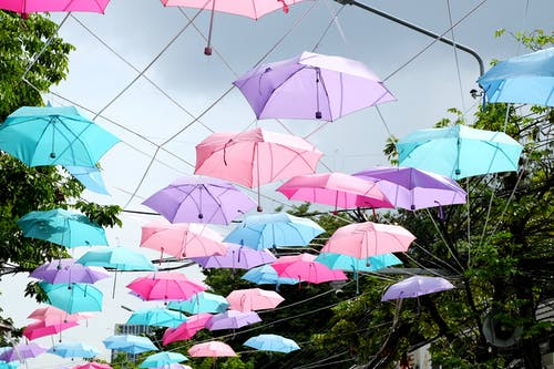 Free stock photo of path, sky, umbrella, umbrellas