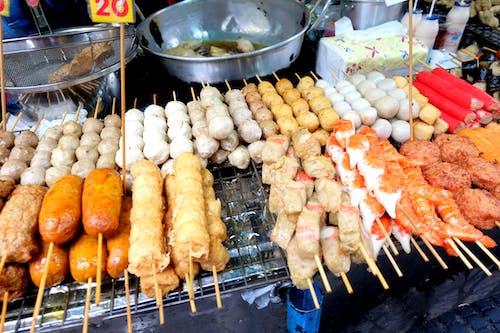 Free stock photo of asian food, sea food, skewers, street food