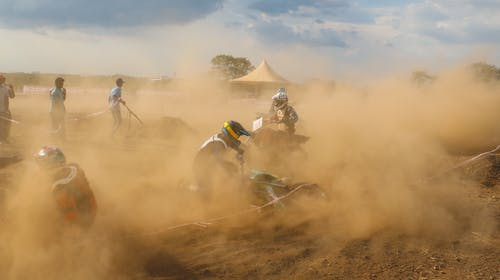 Free stock photo of bike racing, crash, dirt bike, dust