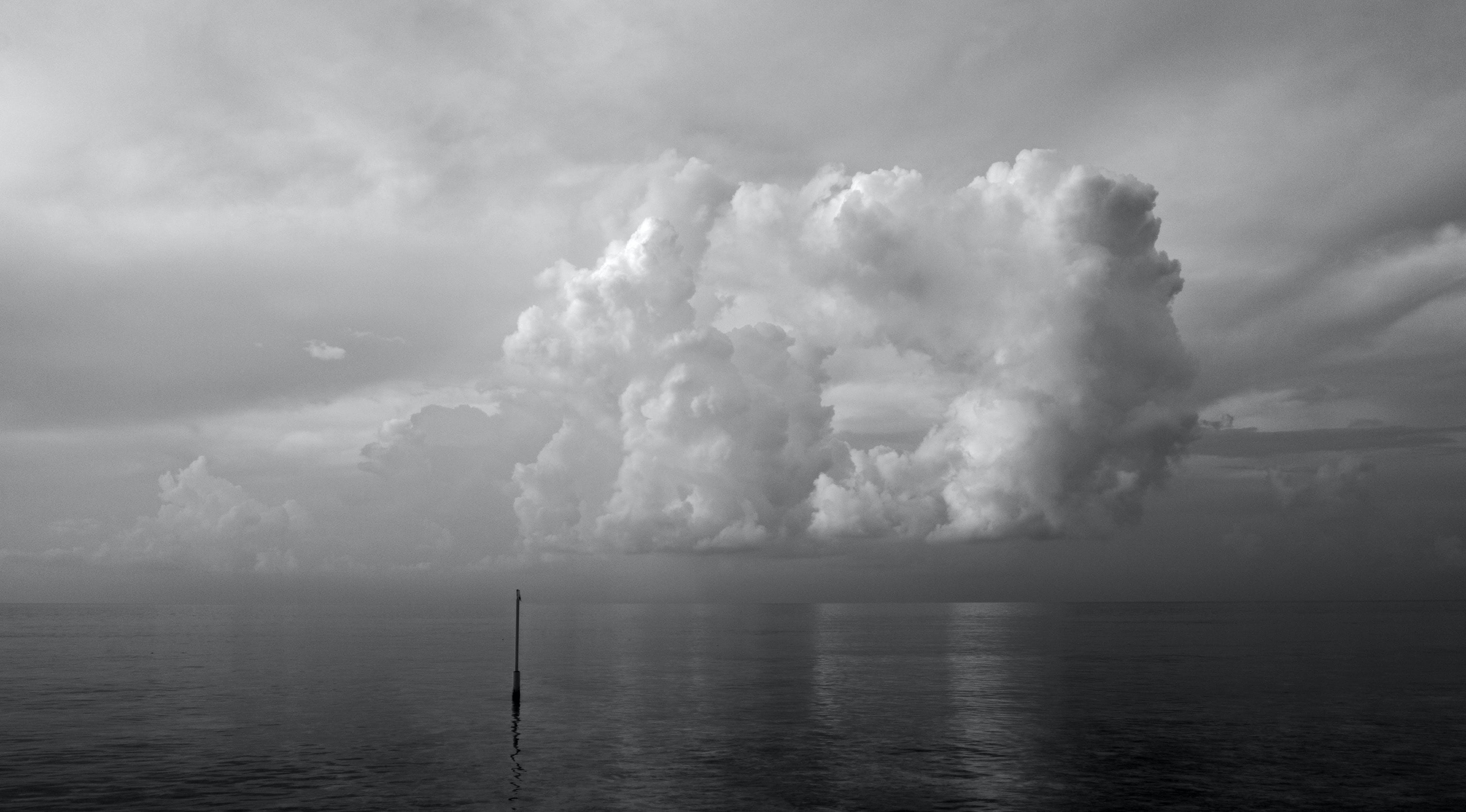 Monochrome Photo of Nimbus Clouds