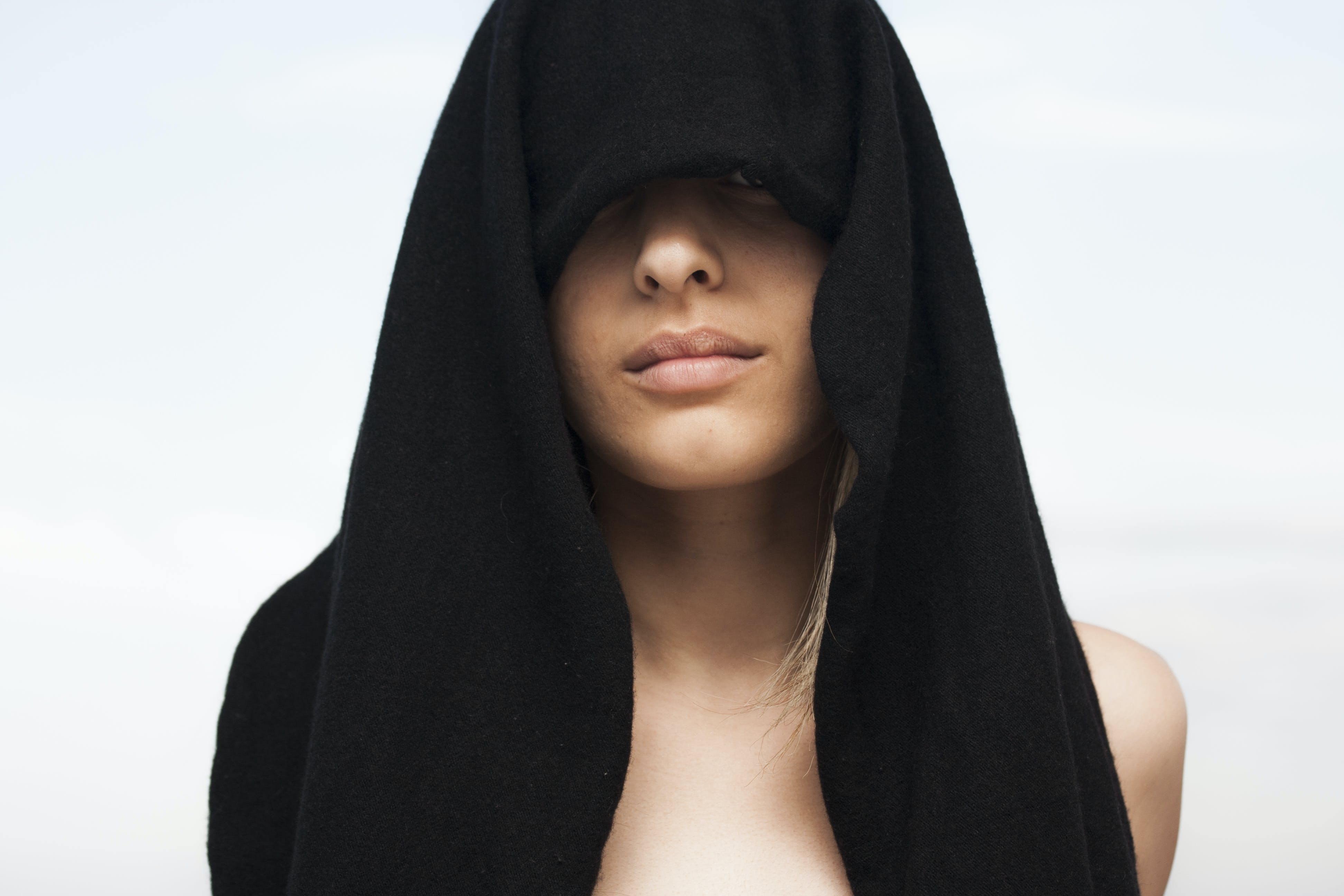 Photo of Woman With Black Towel on Her Head