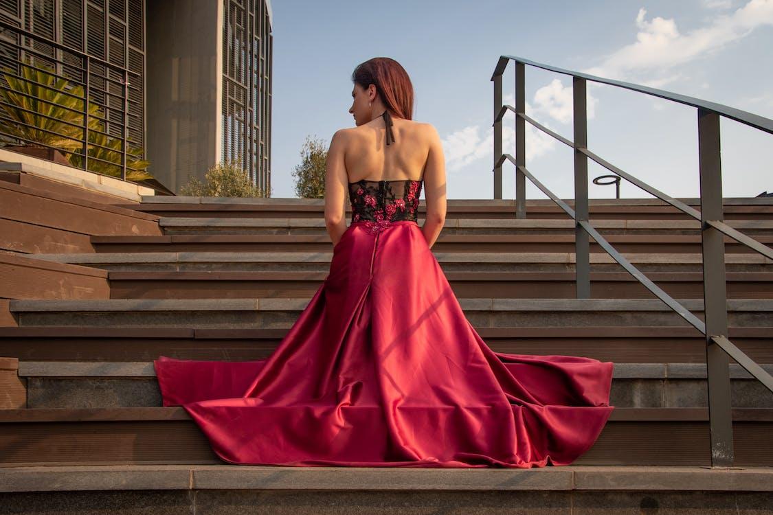 Woman Wearing Pink Sleeveless Dress