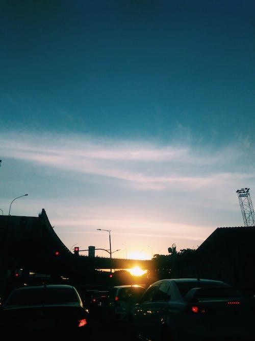 Gratis stockfoto met auto's, avond, blauwe lucht, dageraad