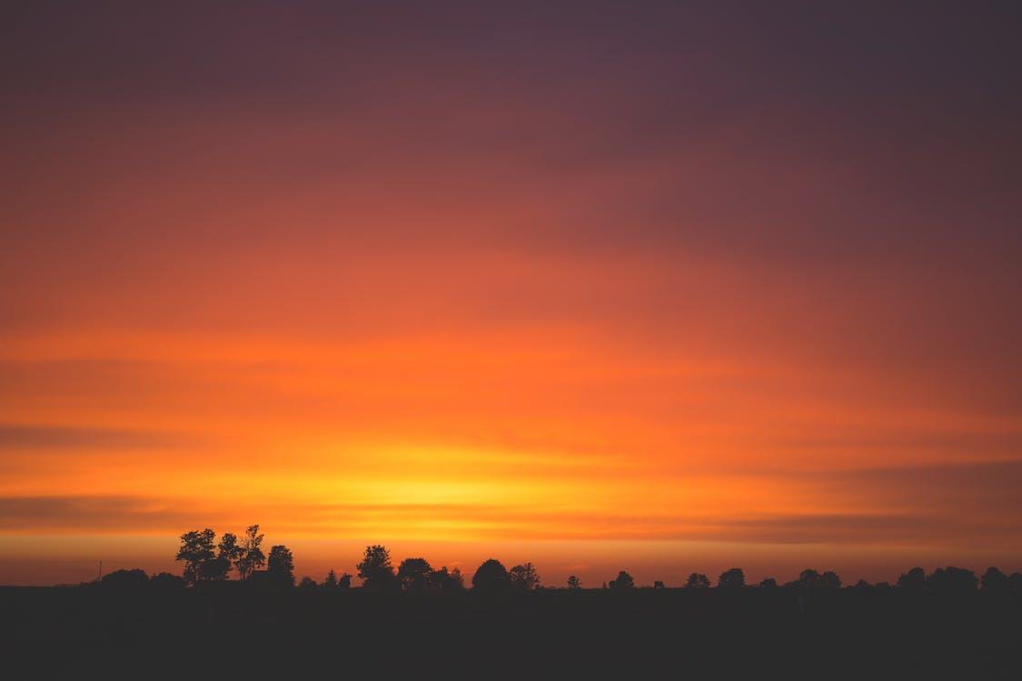 barva, krajina, oranžová obloha