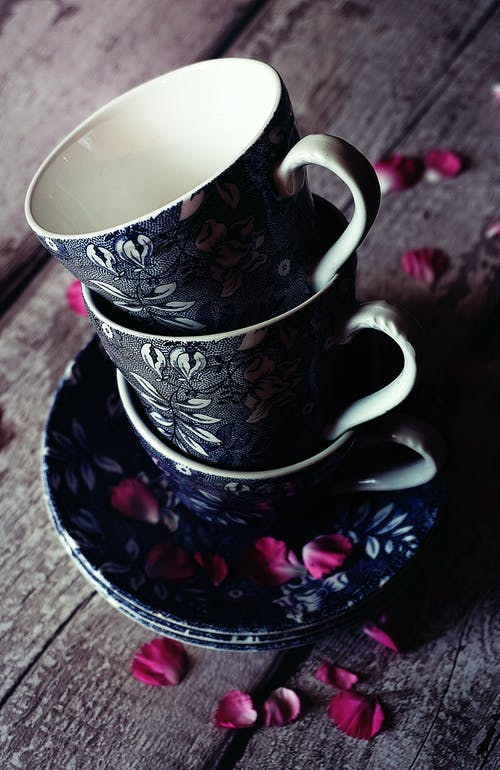 Three Black Floral Teacups