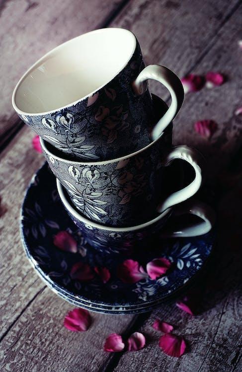 Three Black Floral Teacups