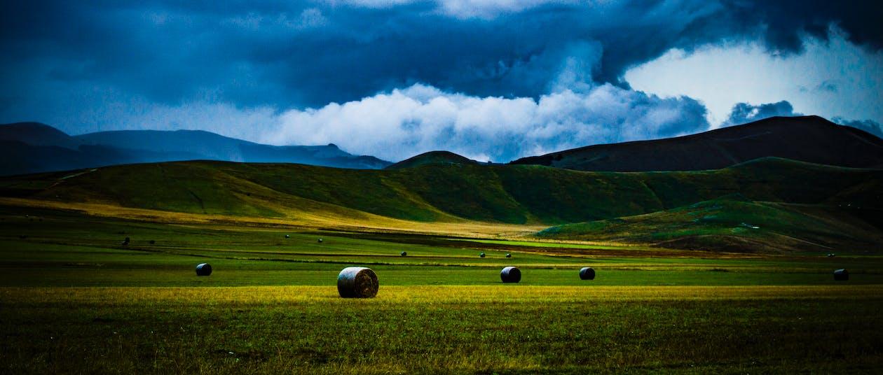 farm, felhők, festői