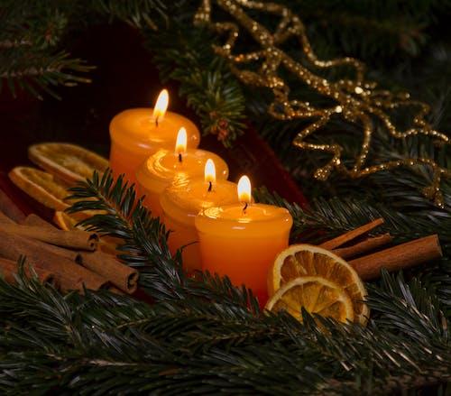 Photos gratuites de bougies, cire, décorations de noël, éclairé