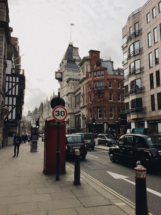 arquitectura, cabina de teléfono, calle