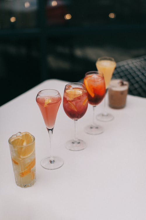 Cocktails on Table