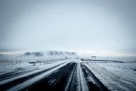 snow, road, mountains