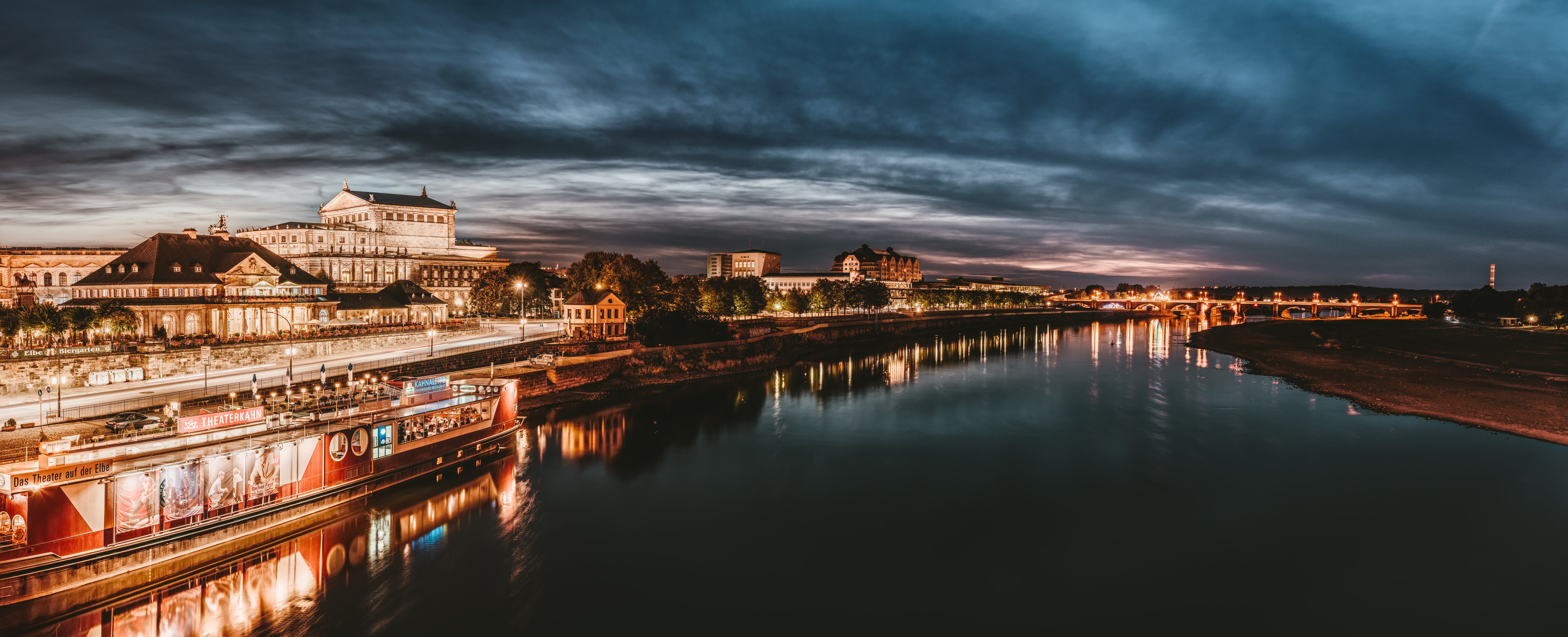 Panoramic Photography of City Buildings during Nighttime