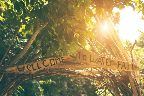 Welcome to Water Fall Wooden Signage at Daytimne