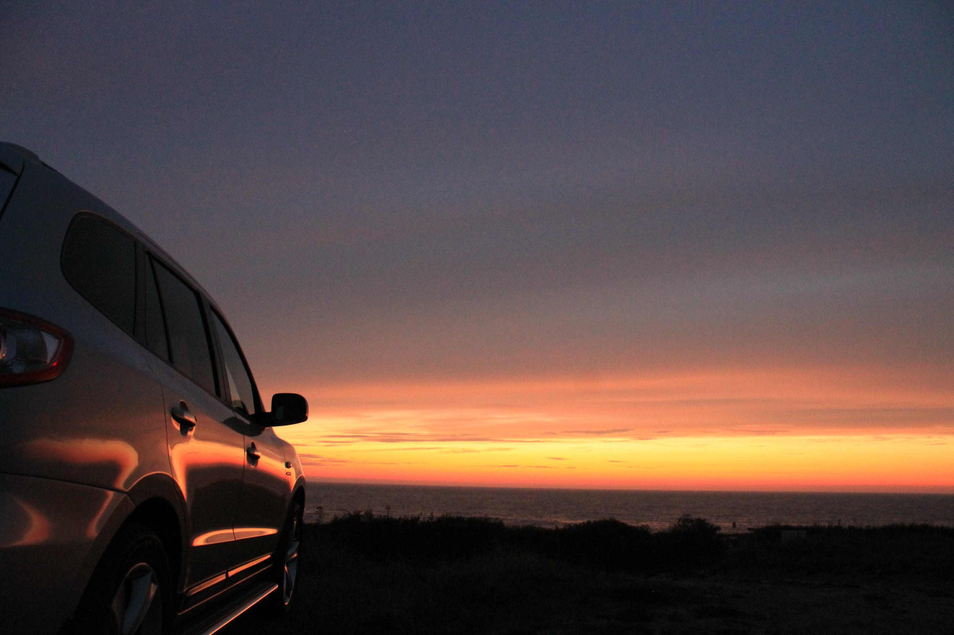 Free stock photo of sunset, romantic, car, roadtrip