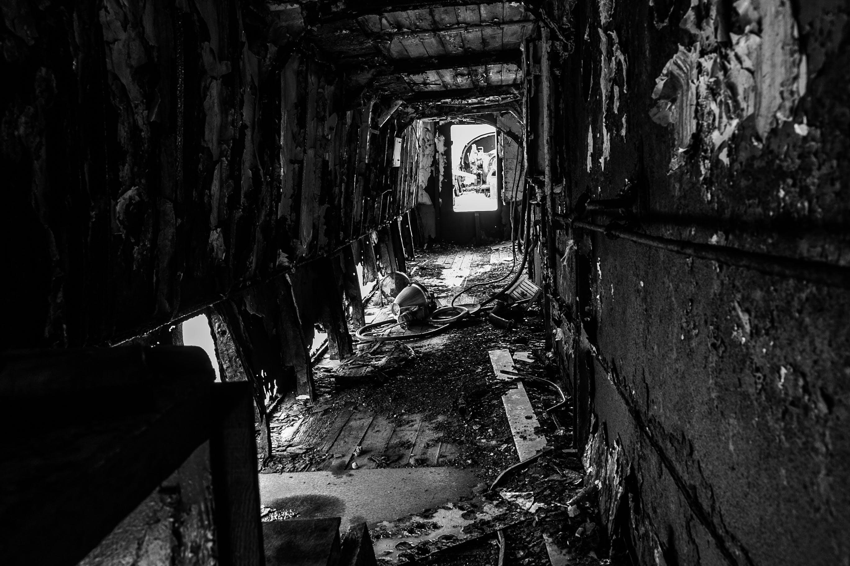 Grayscale Photography of Hallway