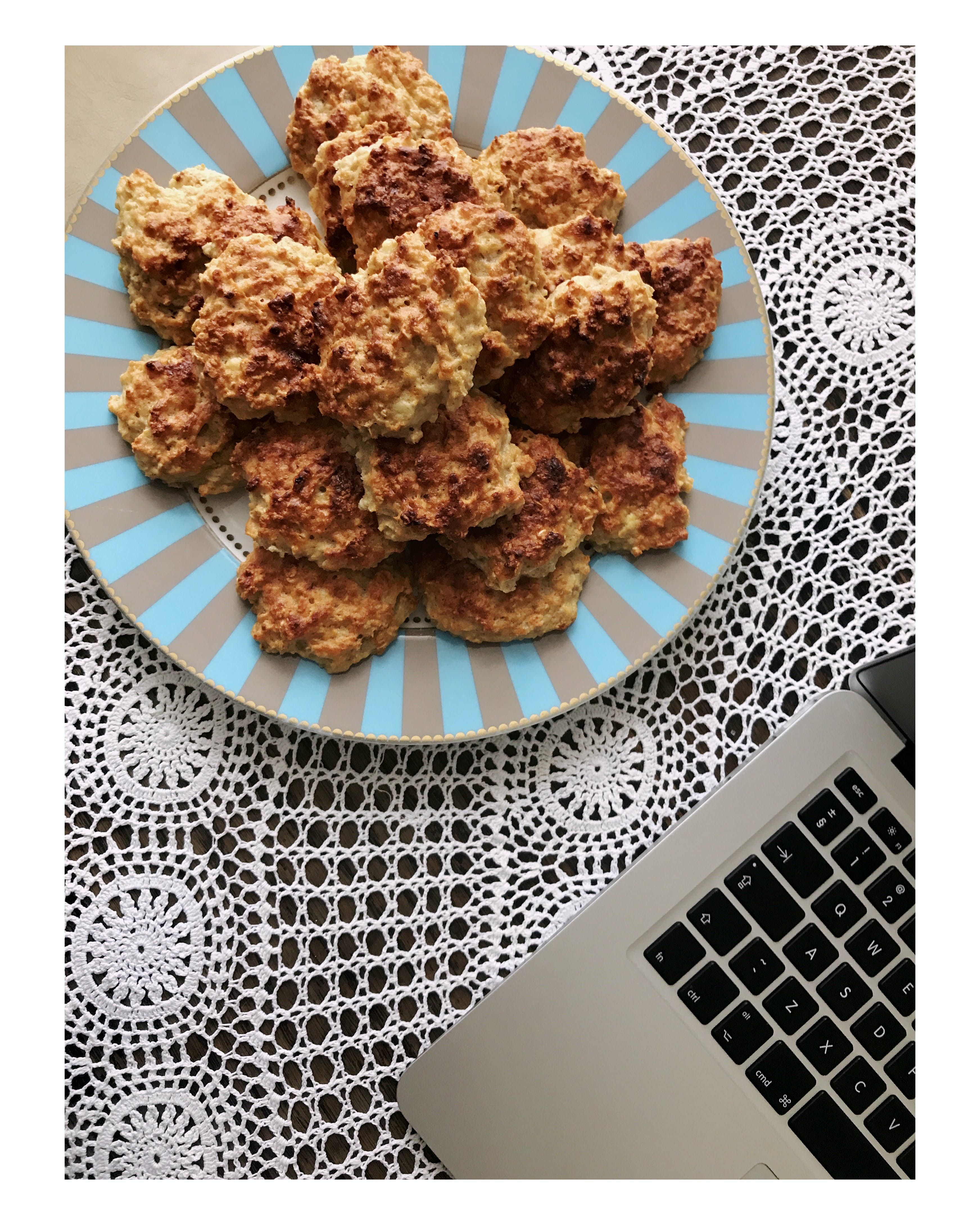Plate of Nuggets Near Laptop