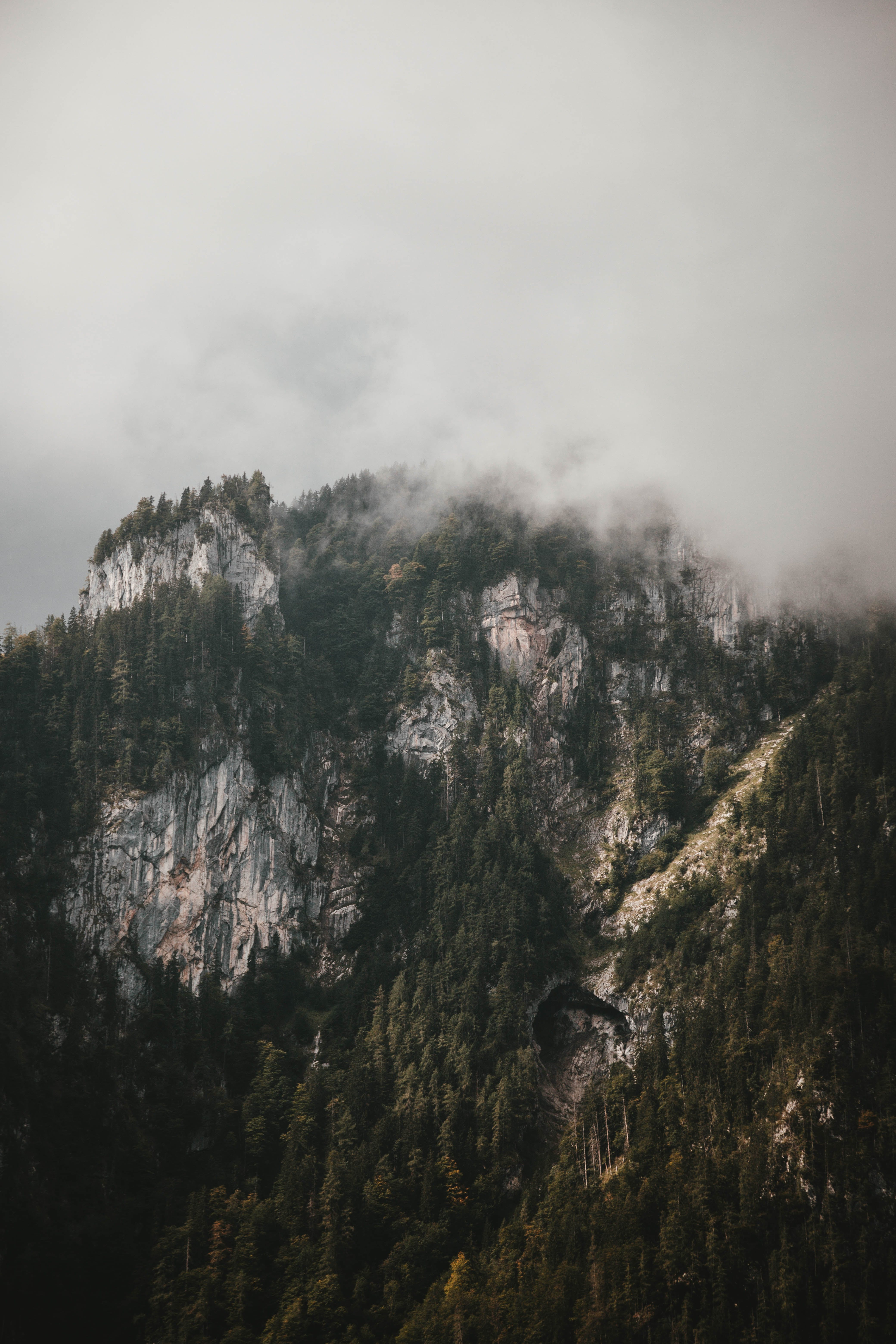 Mountain With White Clouds