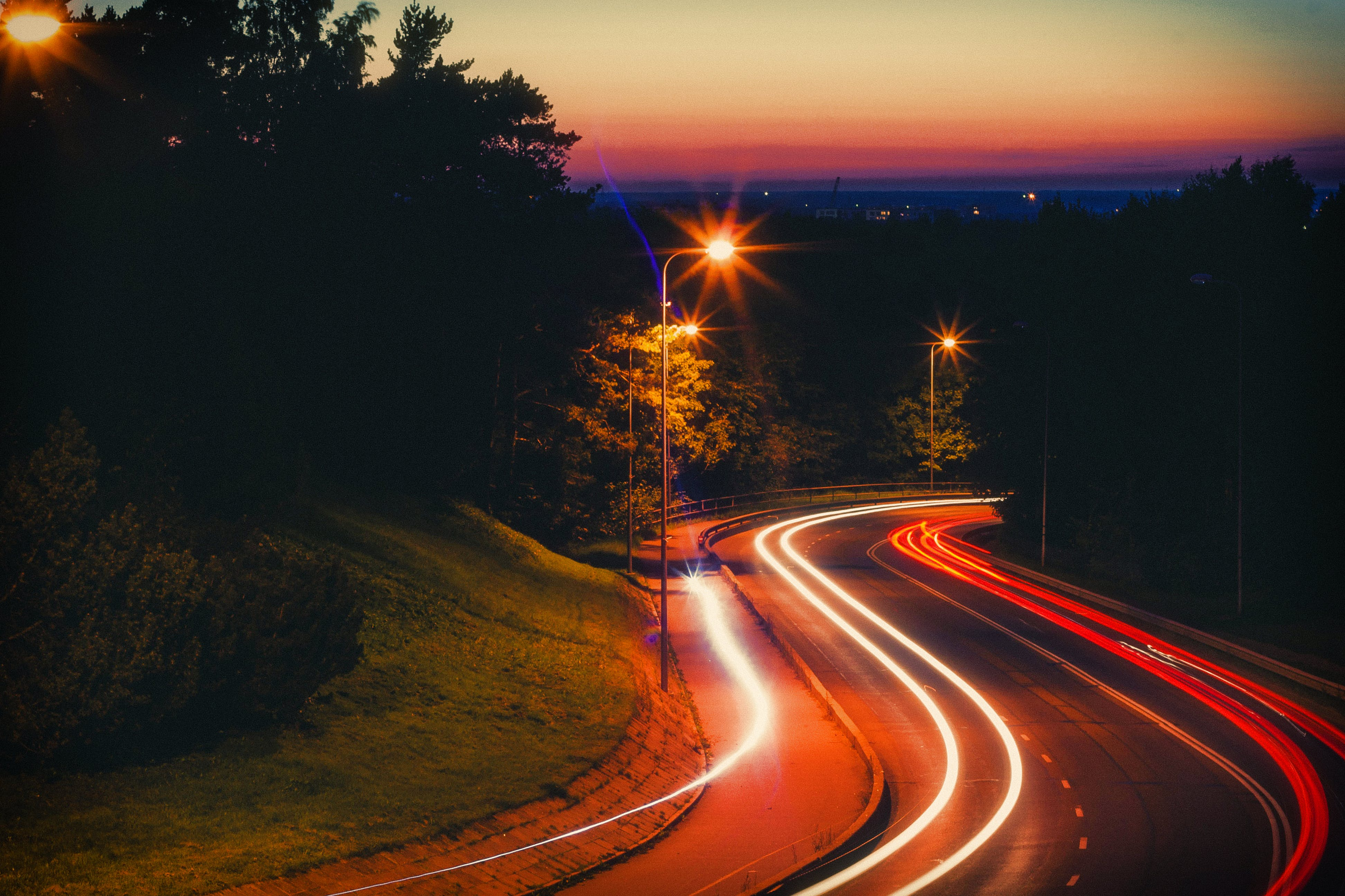 Time-lapse Of Road At Night