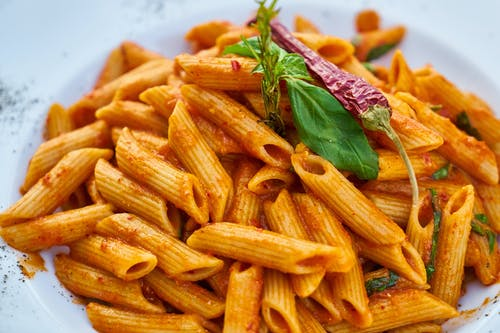 Pasta With Green Leaf And Chili Pepper