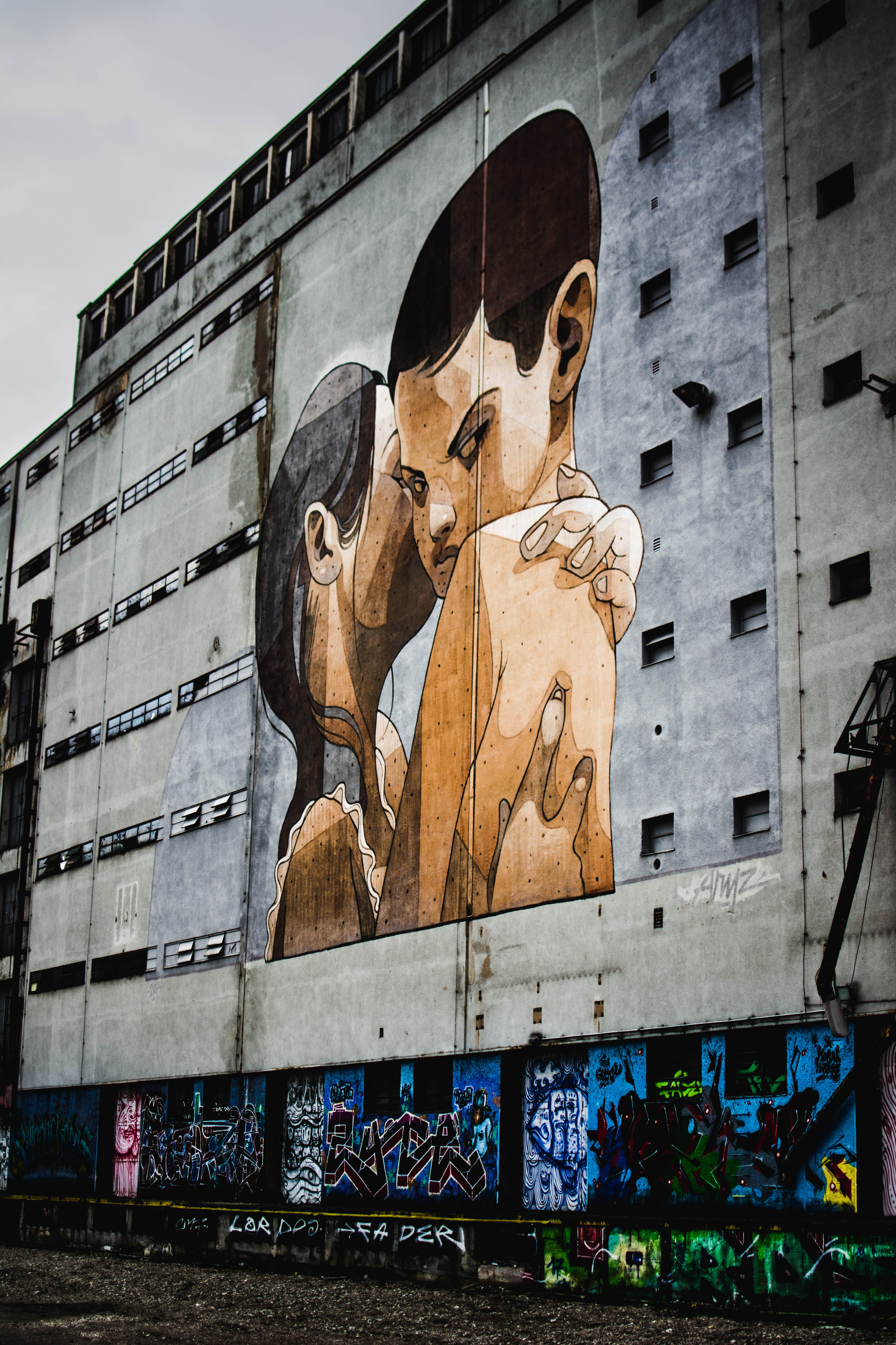 Painting Of Two People Hugging
