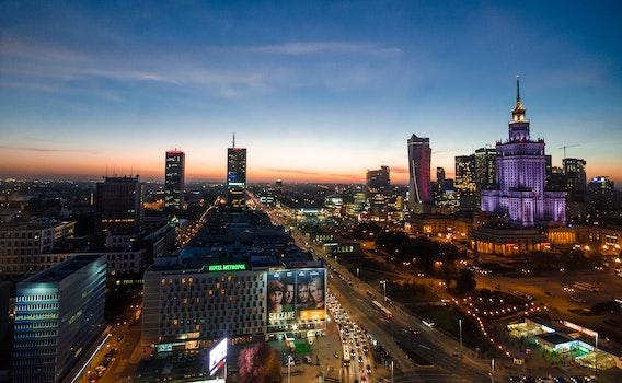 Free stock photo of city, sky, sunset, lights