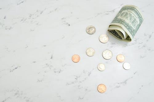 お金, お金の写真, お金フラットレイ, コインの無料の写真素材