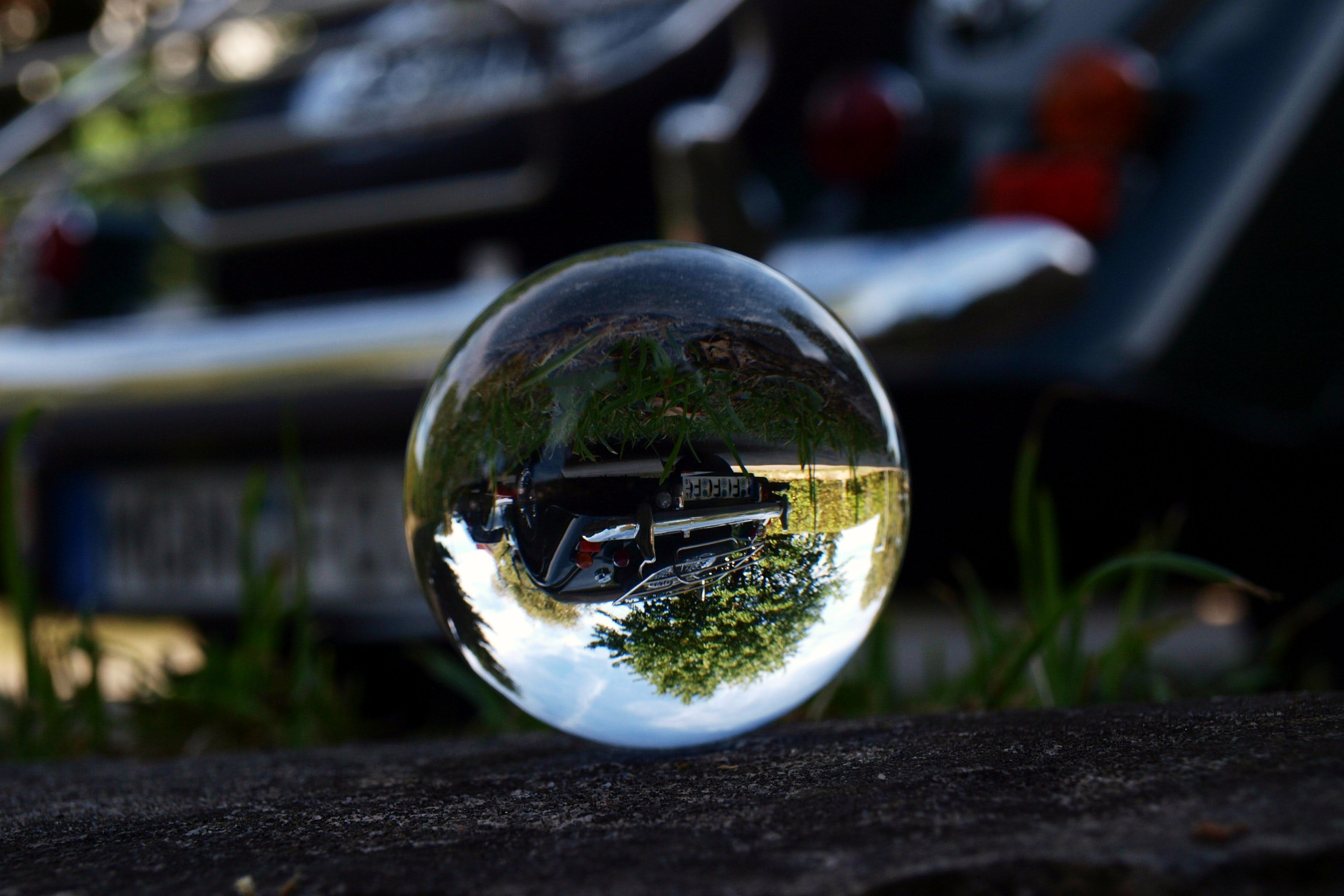 Free stock photo of glass ball, oldtimer, perspective