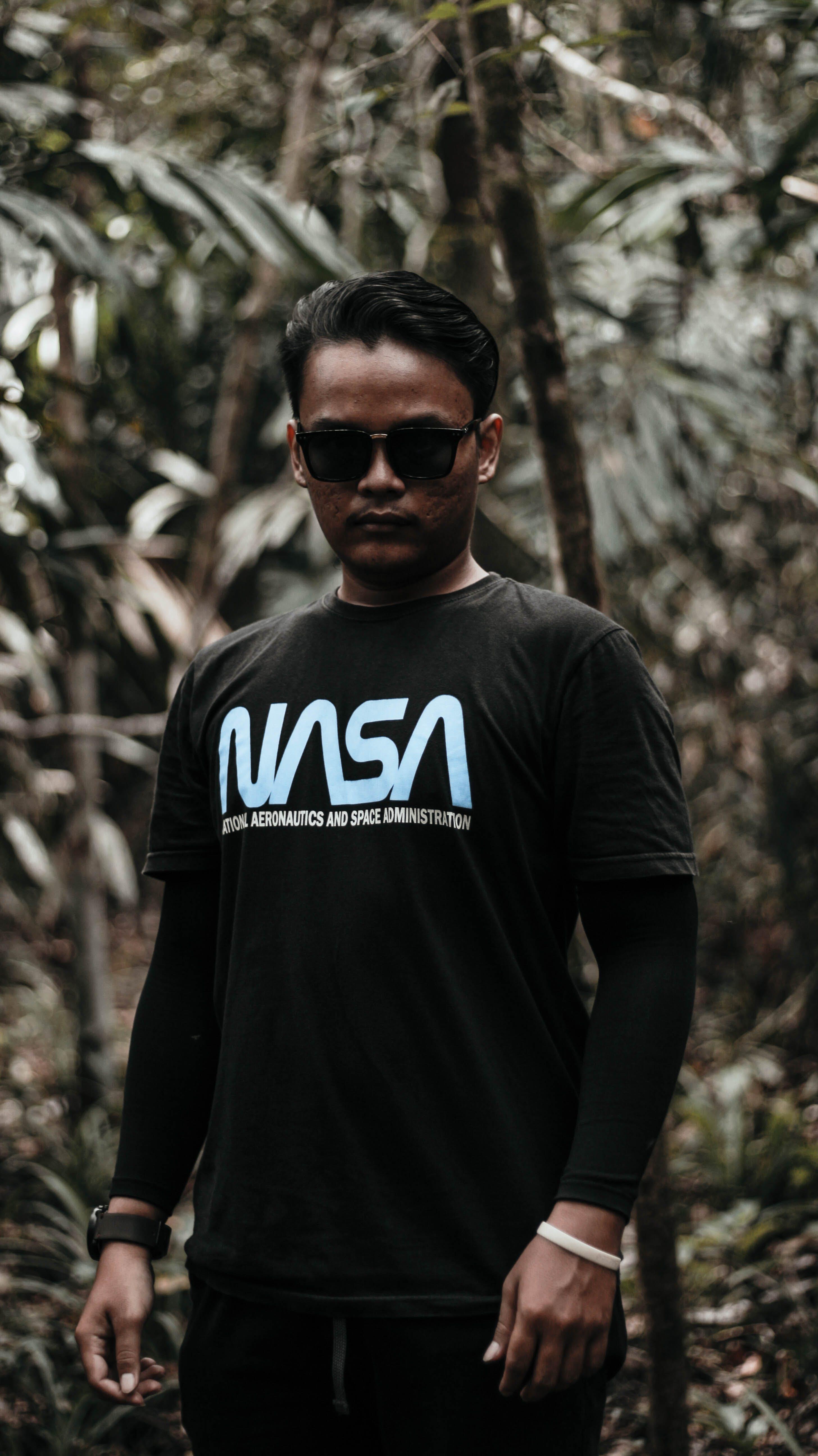 Man In Black Nasa Long-sleeved Shirt