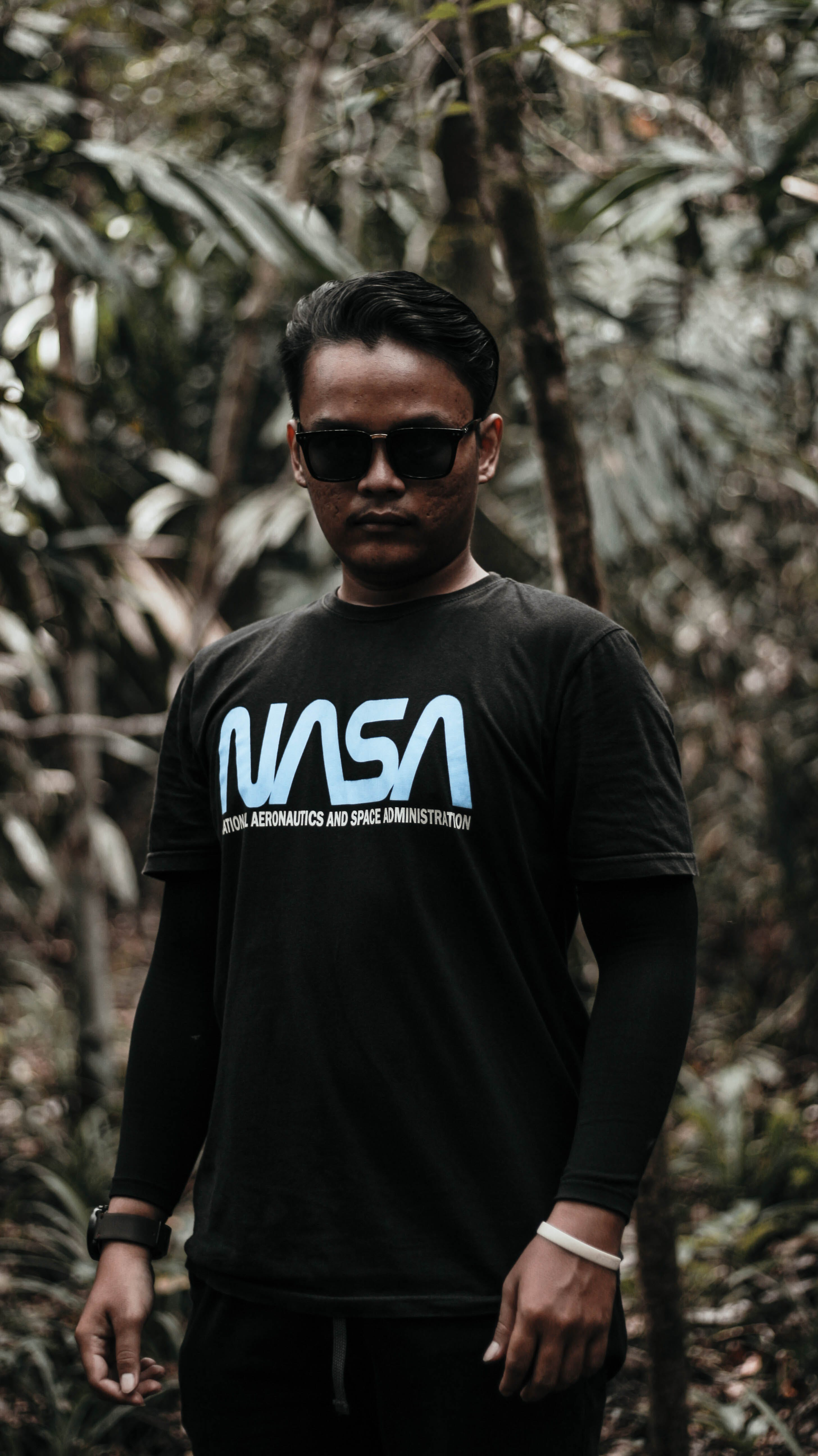 Man In Black Nasa Long-sleeved Shirt