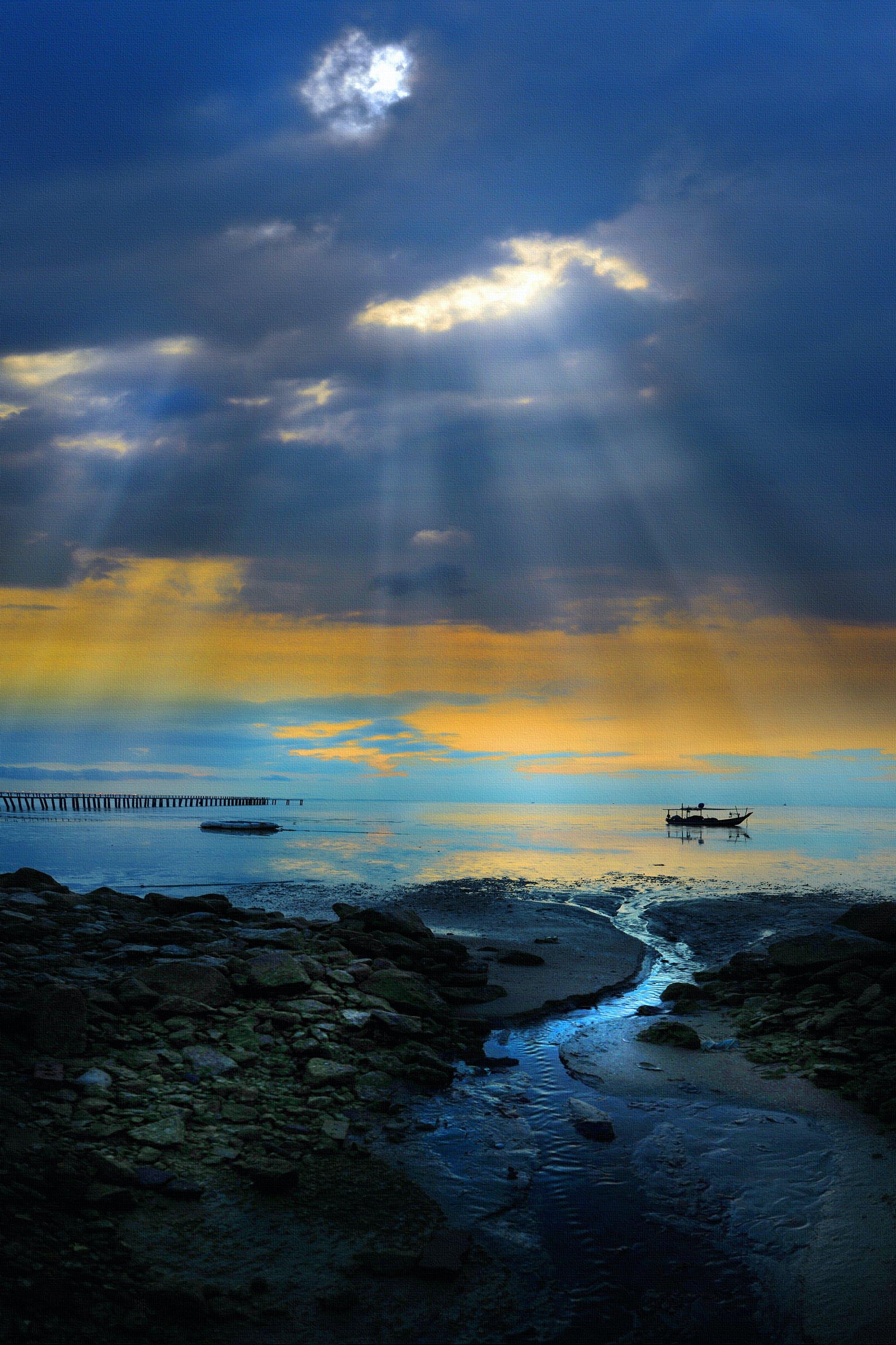 Gratis lagerfoto af aften, hav, havudsigt, himmel