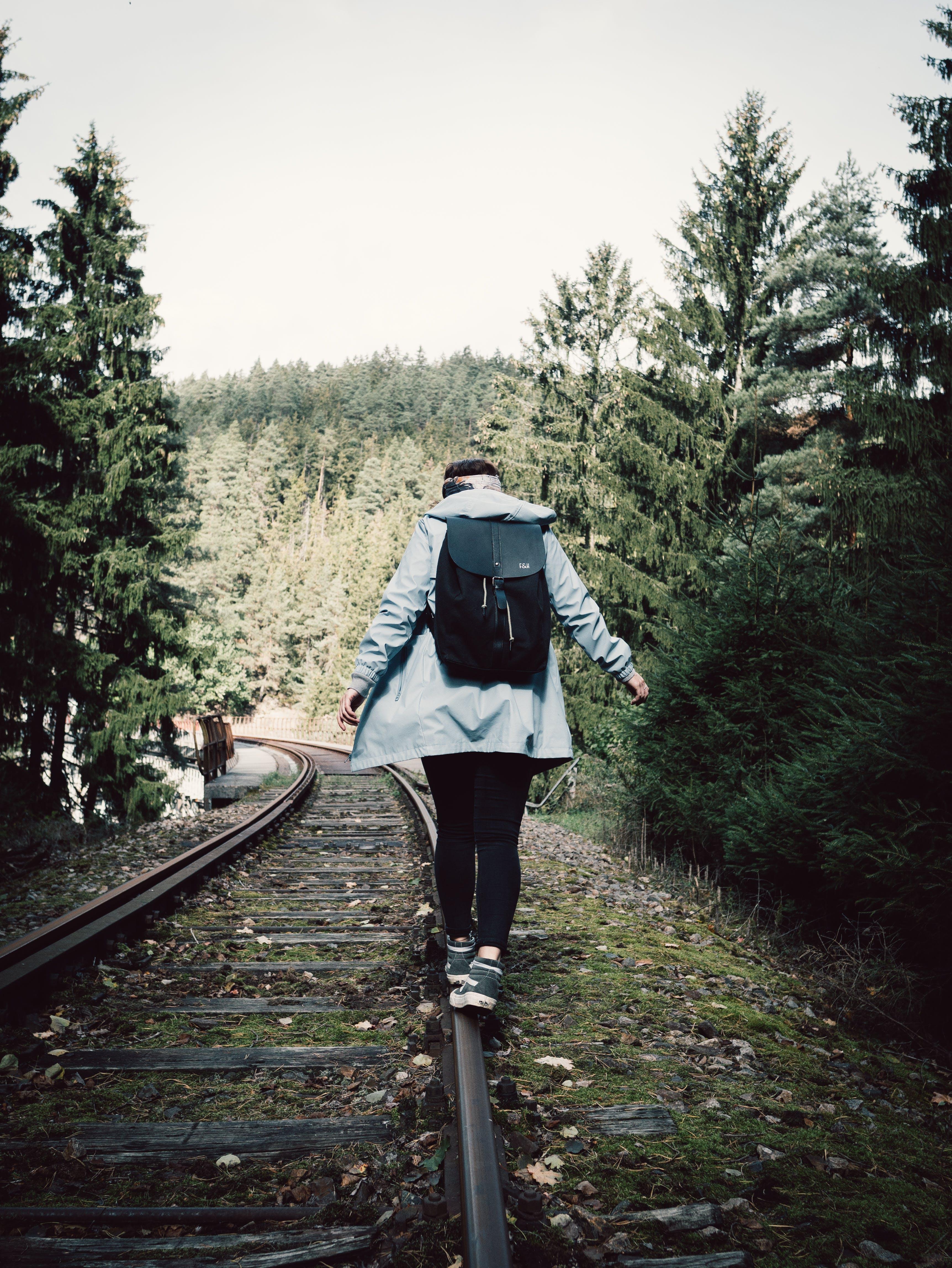 Person Walking On Railway