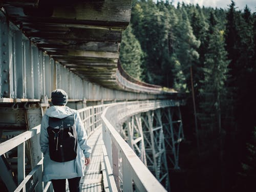 Person Walks on Bridge