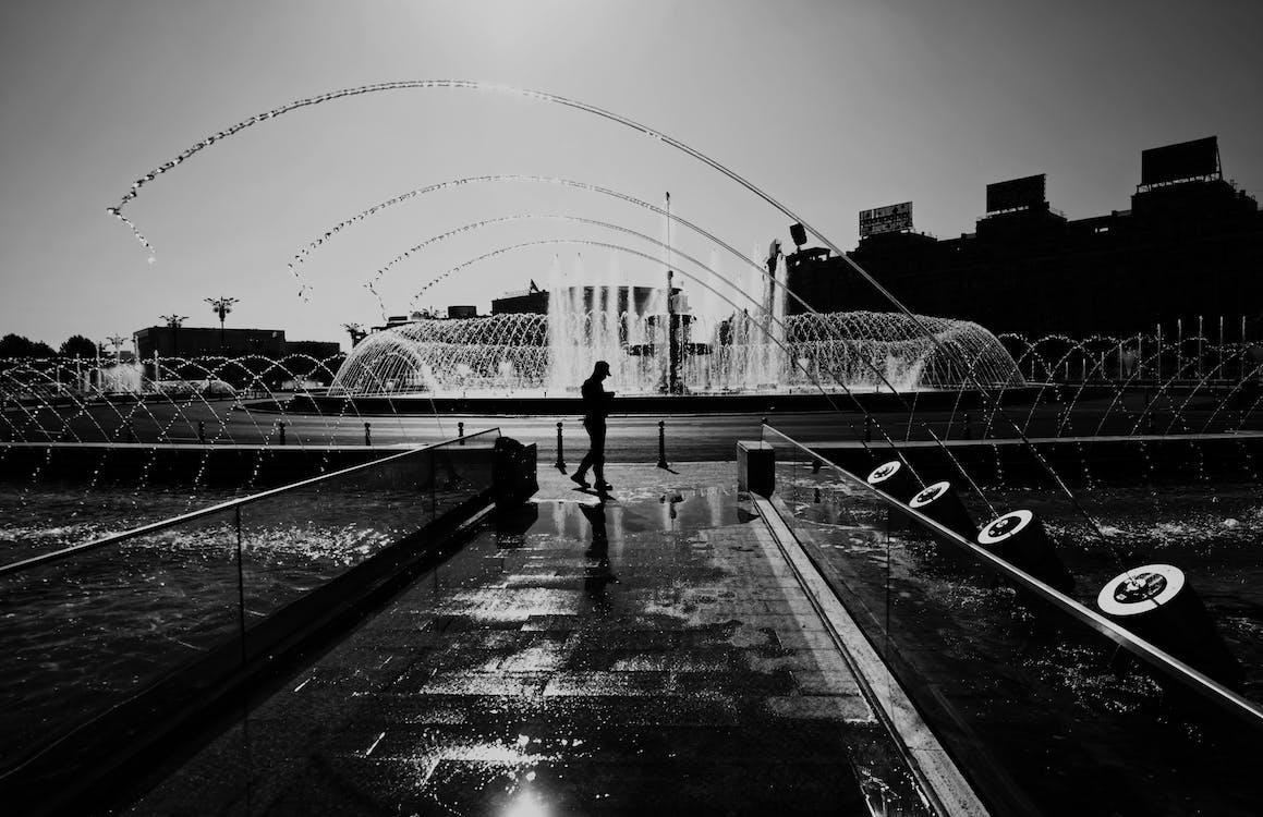 aigua, arquitectura, blanc i negre