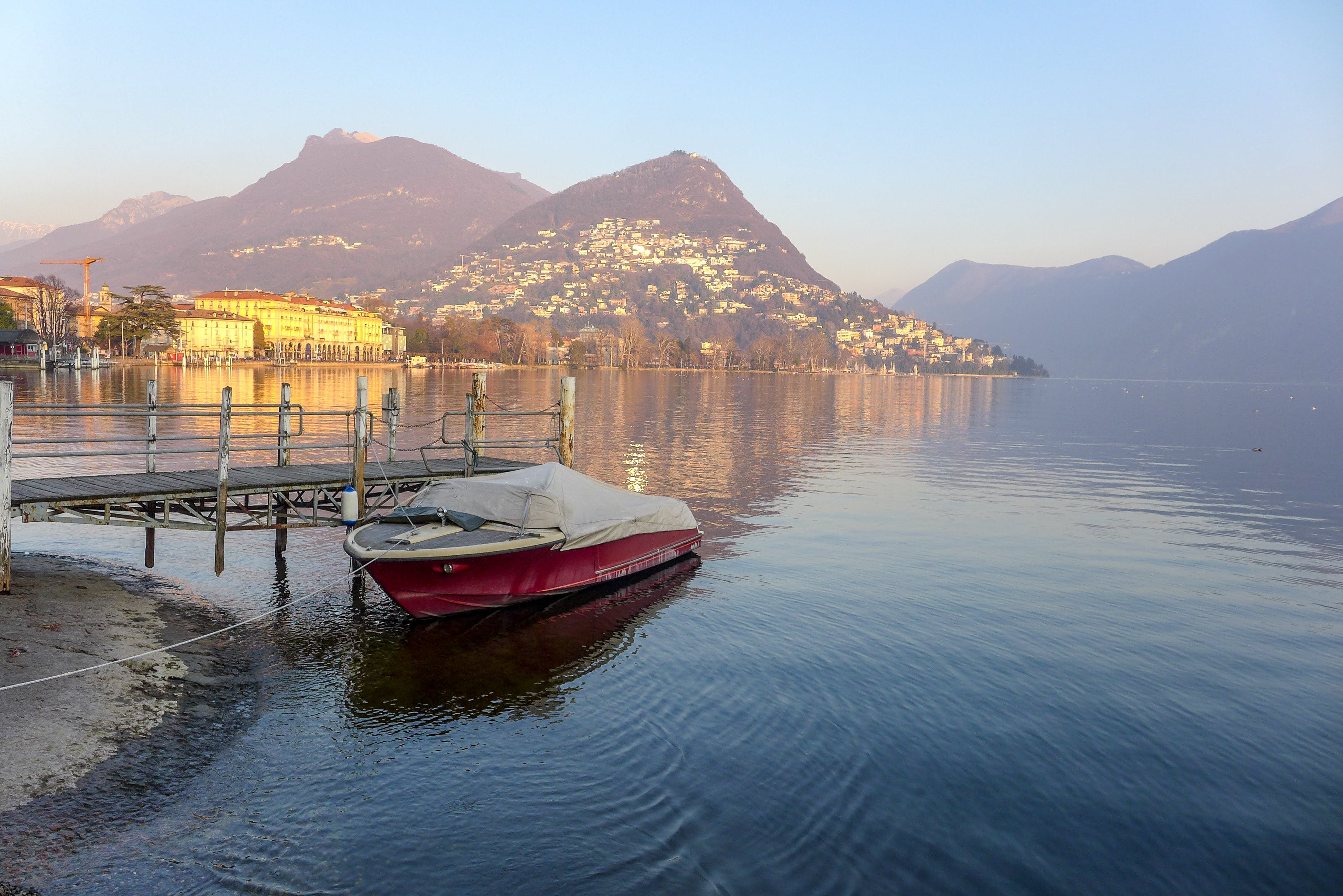 Free stock photo of boat, city, lake como, mountains