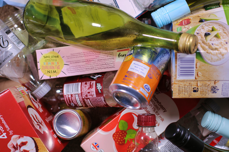 Free stock photo of bottle, cardboard, cardboard cartons, garbage