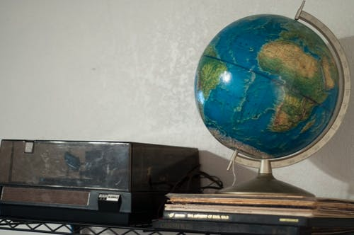 Free stock photo of globe, record, record player, records