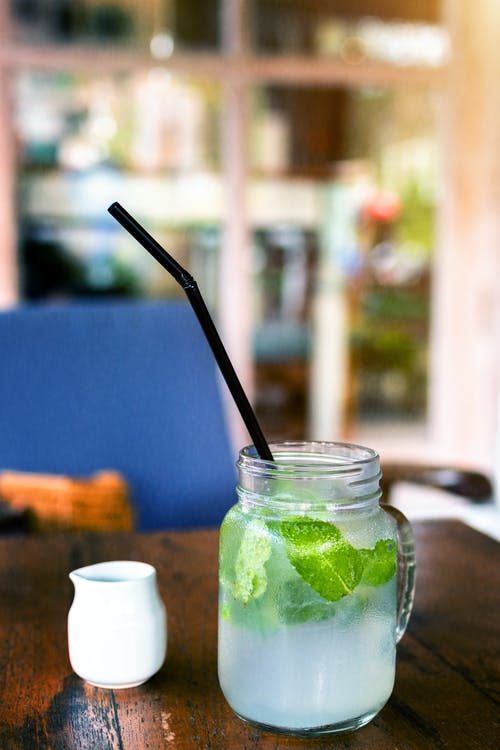 Cocktail Drink With Mint Herb in Mason Jar