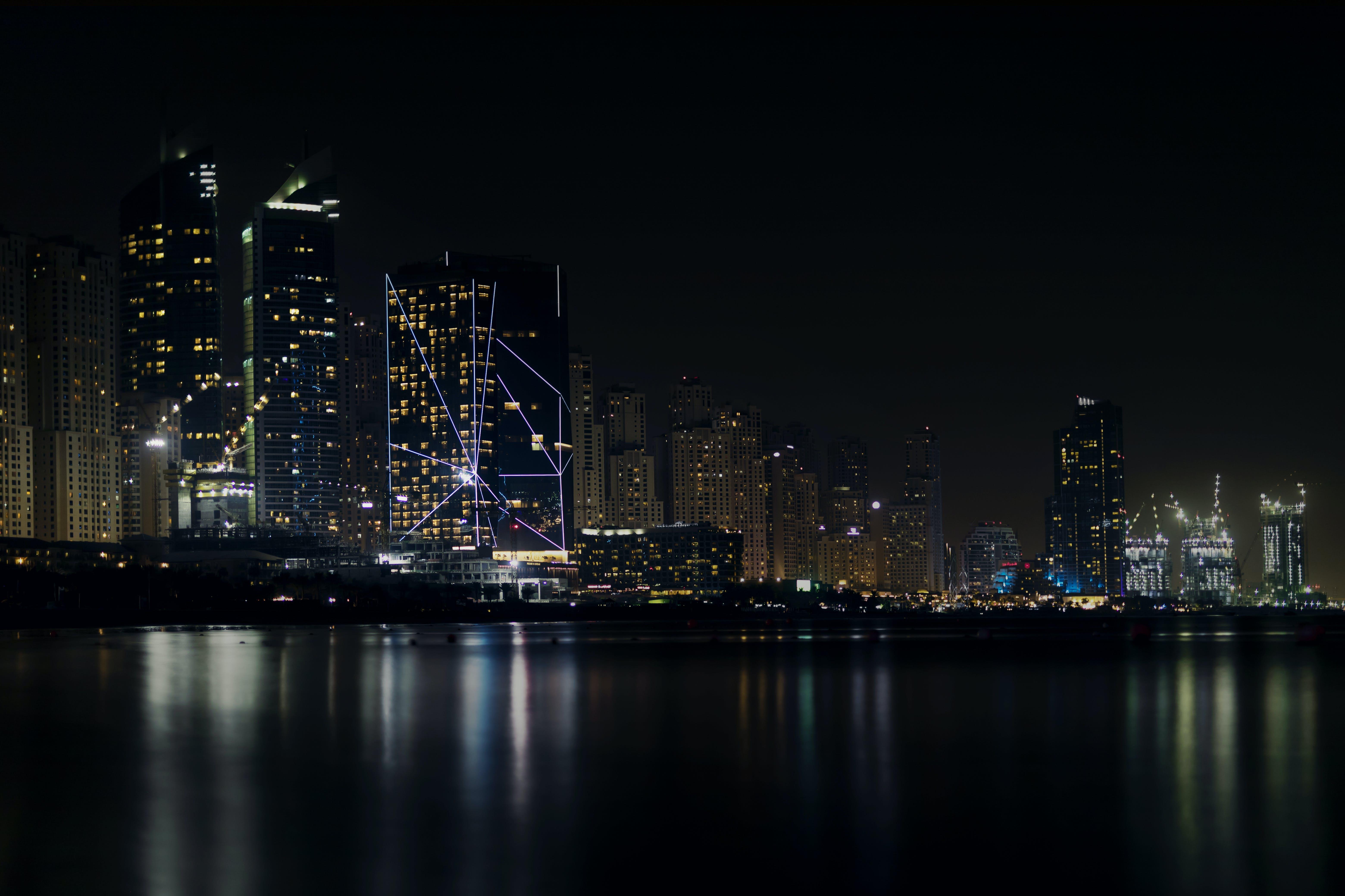 City Skyline Under Dark Sky