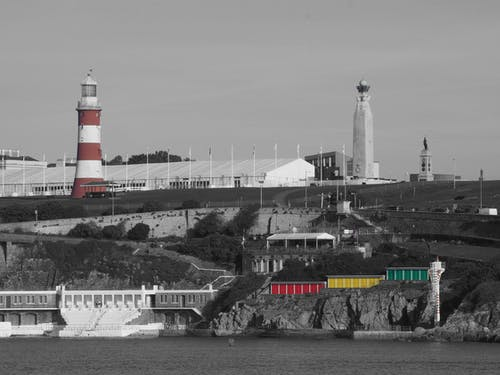 Free stock photo of Outside swimming pool, Plymouth Hoe Smeatons Tower, War Memorial