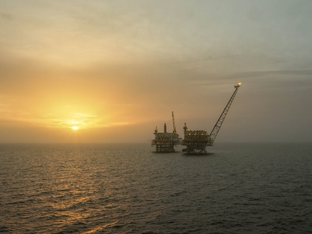 Oil Rig in the sunrise