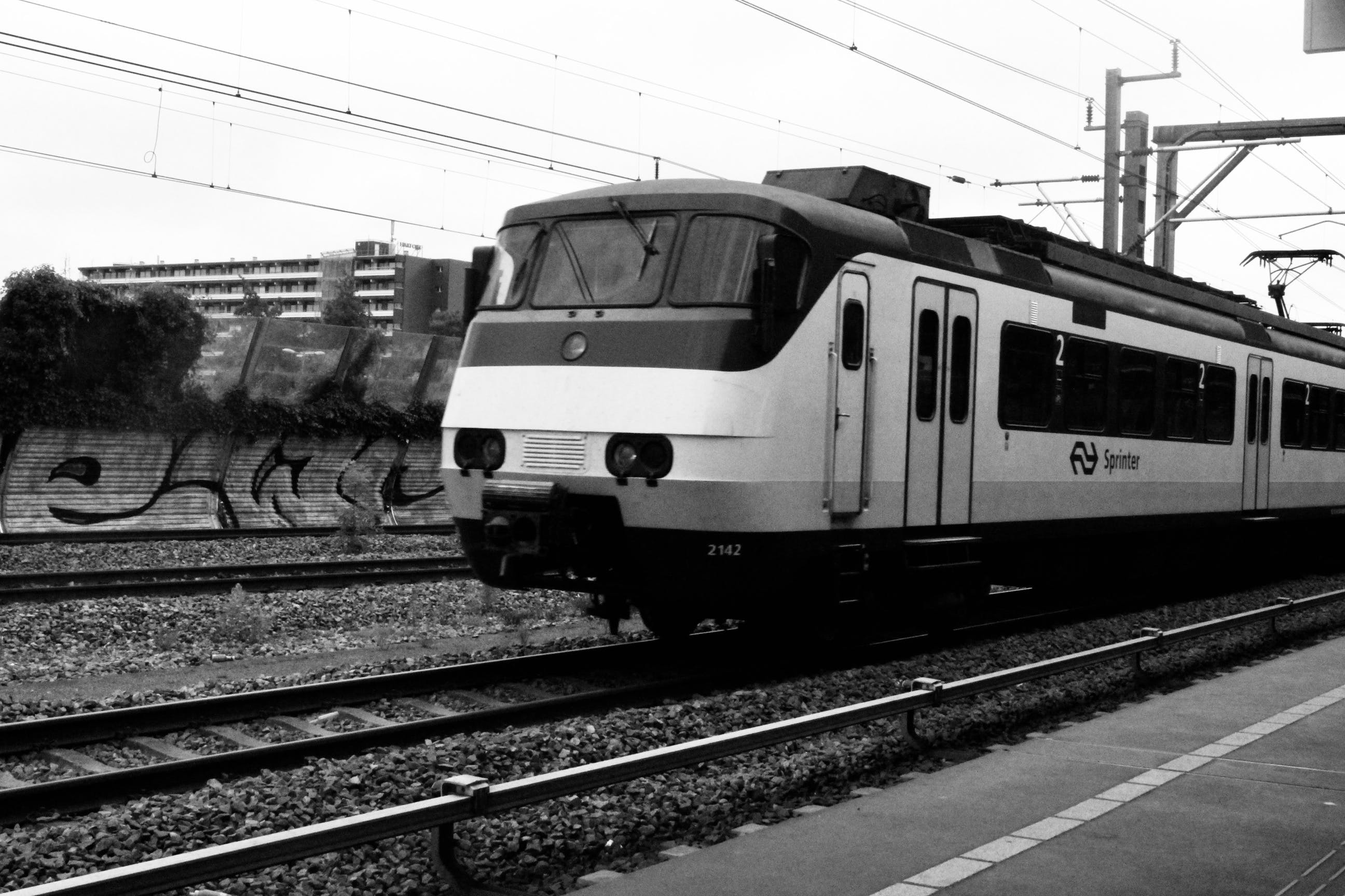 Free stock photo of amsterdam, black and white, rail track, railway
